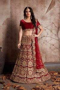 Attractive Maroon Colored Velvet Silk With Embroidered Work Designer Lehenga Choli For Wedding Wear-VT1159DVD9001A