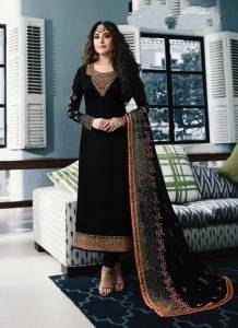 Black Colour Georgette Embroidered Straight Cut Salwar Suit For Women