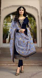 Beautiful Navy Blue Colour Mulburry Silk Embroidered Work Suit For Women