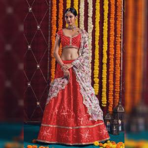 Alluring Red Colored Satin Banglori With Fusion Cancan Net With Embroidered Work Zari Lace Designer Wedding Wear Lehenga Choli-MINIAB106A