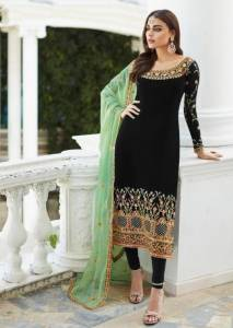 Black Colour Georgette Embroidered Work Salwar Suit For Wedding Wear