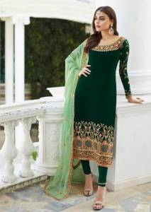 Amazing Green Colour Georgette Embroidered Work Salwar Suit