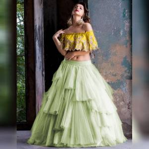 Awesome Pastle Soft Net Raffle style Embroidered Lehenga Choli for women
