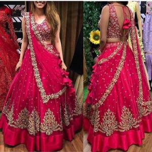 Party Wear Rani Pink Net Embroidered Zari Work Lehenga Choli Design Online