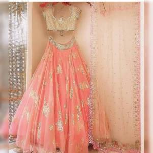 New Peach Nylon Net With Embroidered Work Lehenga Choli Design Online