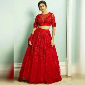 Dazzling Red Color Designer Net Zari Embroidered Patch Flowers Work Wedding Wear Lehenga Choli