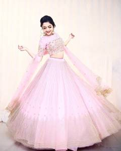 Good-looking Baby Pink Color Wedding Wear Net Embroidered Badala Work Lehenga Choli