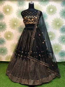 Eye-catching Black Color Festive Wear Embroidered Badala Work Soft Net Lehenga Choli For Women