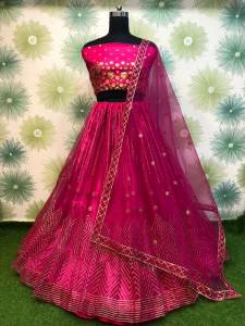 Marvelous Magenta Color Soft Net Designer Embroidered Badala Work Lehenga Choli For Function Wear