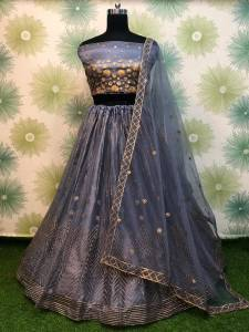 Gorgeous Grey Color Fancy Net Badala Embroidered Designer Work Wedding Wear Lehenga Choli