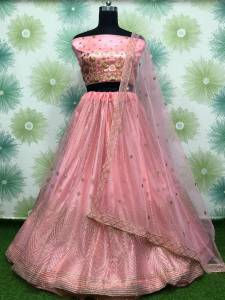 Fabulous Light Pink Color Designer Soft Net Badala Embroidered Fancy Work Lehenga Choli  For Function Wear