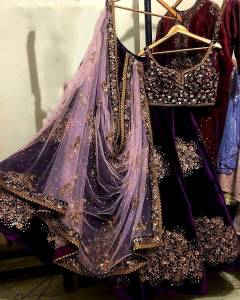Mind-blowing Purple Color Designer Velvet Fancy Embroidered Work Wedding Wear Lehenga Choli