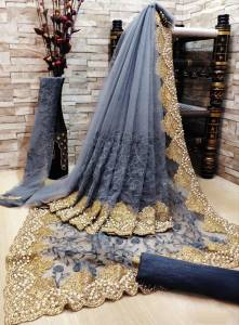 Gorgeous Grey Color Fancy Soft Net Embroidered Diamond Multi Zari Work Saree Blouse For Wedding Wear