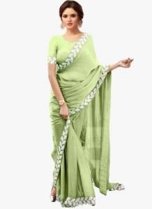 Dazzling Light Green Color Festive Wear Vichitra Silk Designer Embroidered Work Lace Saree Blouse