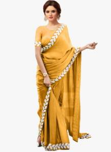 Attractive Mustard Color Wedding Wear Soft Vichitra Silk Designer Embroidered Work Lace Saree Blouse