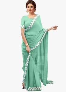 Surpassing Sea Green Color Party Wear Embroidered Work Lace Designer Soft Vichitra Silk Saree Blouse For Women
