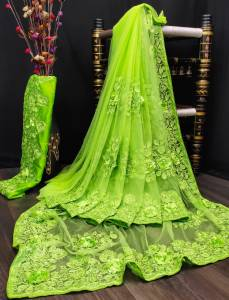 Stupendous Light Green Color Designer Applique Stone Embroidered Work Nylon Net Wedding Wear Saree Blouse