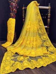 Bewildering Yellow Color Nylon Net Fancy Embroidered Stone Applique Work Saree Blouse