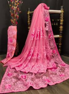 Thrilling Pink Color Occasion Wear Nylon Net Embroidered Stone Applique Designer Work Saree Blouse