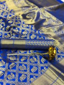 Unbelievable Royal Blue Color Function Wear Designer Jacquard Minakari Butta Work Silk Banarasi Saree Blouse
