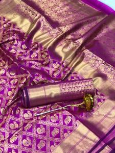 Desirable Violet Color Rich Pallu Jacquard Minakari Work Banarasi Silk Saree Blouse For Wedding Wear