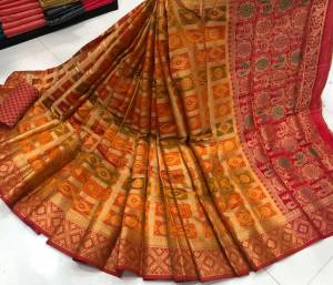 Good-looking Mustard Color Designer Lichi Soft Silk Zari Weaving Jacquard Work Saree Blouse For Wedding Wear