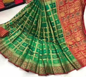 Stunning Dark Green Color Party Wear Lichi Soft Silk Jacquard Zari Weaving Designer Saree Blouse