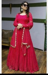 Dismaying Rani Pink Color Designer Georgette Fancy Embroidered Work Anarkali Salwar Suit For Festive Wear
