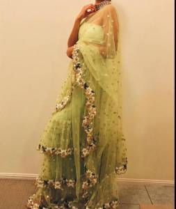 Outstanding Light Green Soft net Sequence Work Saree Blouse For Wedding Wear