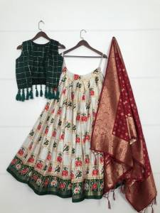 Wedding Wear Rich Cotton Foil Printed Lehenga with Jacquard Dupatta Choli Design