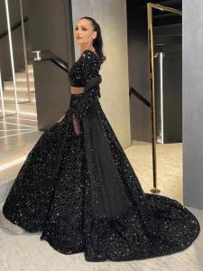 Tremendous Black Color Pure Velvet Sequence Work Semi Stitched Lehenga Choli