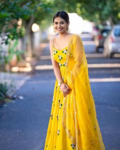 Yellow Embroidered Stitched Gown For Girls