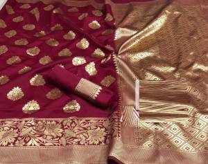 Maroon Colour Banarasi Silk Saree Design Online Shopping In India