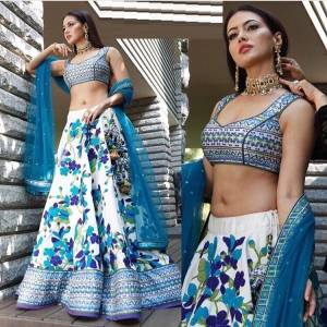 Blooming Designer Skyblue and White Colour Benglory sartin Silk Lehenga