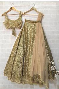 Wedding wear Gold Net Silk Lehenga Choli