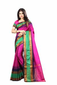 Rani pink silk casual wear designer saree