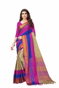 Cotton silk new designer multi color strip silk saree