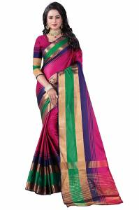 Cotton silk multi color stril casual saree