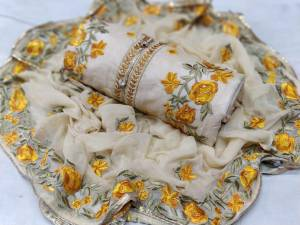 Cream Chanderi Silk Fabric Beautiful Embroidered Work Dress Material