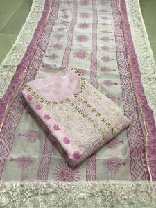 Light Pink Chanderi Silk White Embroidered work on suit and dupatta, dress material