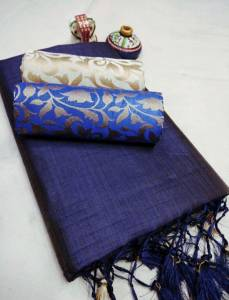 Navy Blue Color Chanderi Silk Plain Saree with Fancy Jacard Silk 2 Blouse