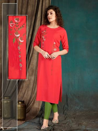 Mind-blowing Light Red Color Designer Slub Rayon Embroidered Work Kurti For Function Wear