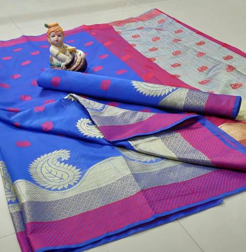 Admiring Royal Blue Pure Cotton Silk Rich Chit Pallu With Zari Weaving Border & Jaquard Weaving Butti In All Over Saree And pure Cotton Silk Blouse For Function Wear-VT2056101A