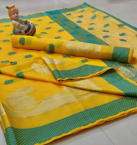 Adorning Yellow Colored Pure Cotton Silk Rich Pallu With Zari Weaving Butti In All Over Saree And Pure Cotton Silk Blouse For Party Wear-VT2056101B
