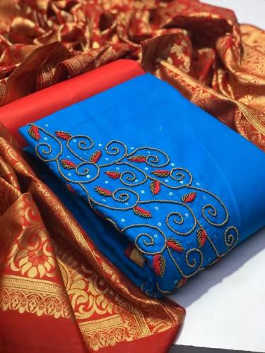 Blue & Red Pure Jam Cotton With Designer Banarasi Zari Weaving Dupatta Dress Material-VT1087104C