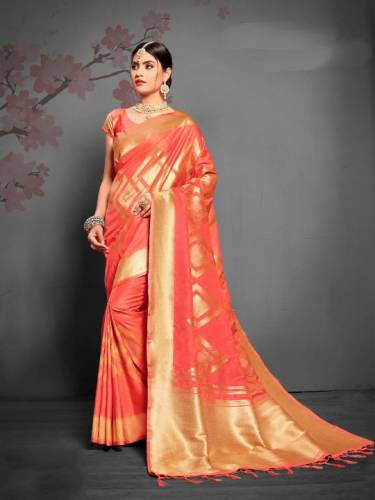 Classy Carrot Color Designer Soft Silk Saree Blouse For Occasion Wear