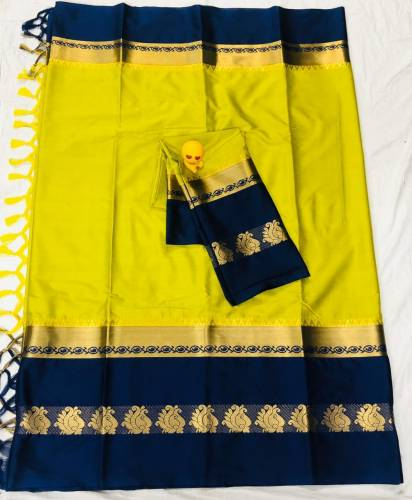 Blue Color Pure Cotton Silk Saree And Running Blouse For Wedding Wear
