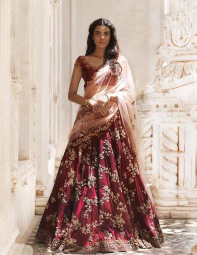 Maroon Taffeta Silk Embroidered Semi Stitched Lehenga Choli Design Online
