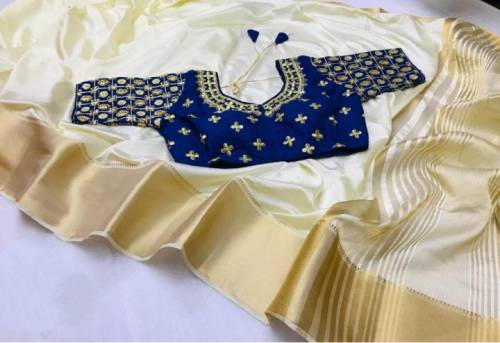 Delightful Golden Colored Nylon Silk With Chit Pallu Zari Patta Border Saree And Blue Heavy Contrast Full Stitched Blouse For Women-VT621108G