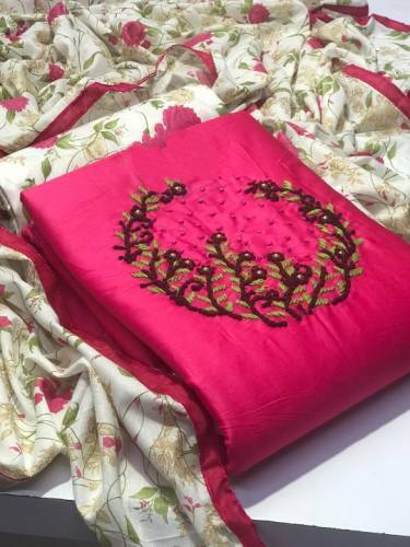 Admirable Pink Color Jam Cotton With Printed Cotton Dupatta Salwar Suit